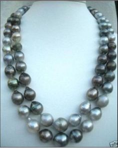 """One strand 38""""huge 10-14mm Natural south sea black gray drop pearl necklace #Unbranded"""