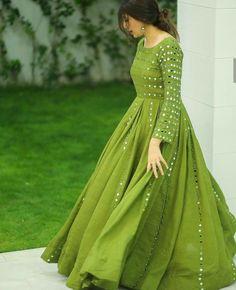 Mehandi colour long frock🥰❤ Party Wear Indian Dresses, Pakistani Fashion Party Wear, Designer Party Wear Dresses, Pakistani Dresses Casual, Indian Gowns Dresses, Indian Fashion Dresses, Dress Indian Style, Pakistani Dress Design, Indian Designer Outfits