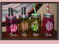colorful lilly pulitzer monogram accented glass mason jar soap dispenser or drinking jar u0026