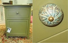 SOLD ~ Small cabinet perfect for powder room or other small space. Painted with Annie Sloan Chalk Paint Olive and Dark Wax. New knob purchased from Hobby Lobby Annie Sloan Chalk Paint Olive, Painted Furniture For Sale, Small Cabinet, Dark Wax, Custom Paint, Hobby Lobby, Powder Room, Knob, Small Spaces