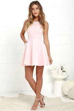 The next time you're packing a suitcase, the oh-so-versatile Wanderlust Blush Pink Skater Dress will be the first thing you'll want to bring along! Flattering princess seams lay below a rounded neckline and swooping back, while a knit skater skirt (with s Blush Pink Dresses, Hoco Dresses, Dresses For Less, Homecoming Dresses, Cute Dresses, Casual Dresses, Fashion Dresses, Formal Dresses, Blush Pink Short Dress