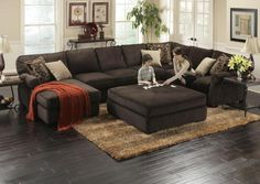 deep sectional feather cushion ottoman   Great Modern Sectionals for Any Size Family   The RoomPlace