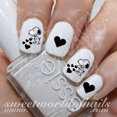 Valentine's day Nails Snoopy Black Hearts Water Decals nail art designs 2019 nail designs for short nails easy holiday nail stickers nail art stickers at home best nail polish strips 2019 Heart Nail Art, Heart Nails, Short Nail Designs, Cool Nail Designs, Pedicure Designs, Cute Nails, My Nails, Snoopy Nails, Design Ongles Courts