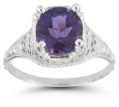 Antique-Style Floral Amethyst Ring in Sterling Silver
