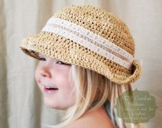 Crochet Pattern: The Maisie Sun Hat-4 Sizes Included Toddler, Child, Adult, Adult Large-summer, lace, straw, raffia