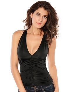 Sleeveless Sexy Lace Back V-Neck Tank Top & Tops - at Jollychic