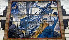 WPA Mural, Newark City Subway by Domenico Mortellito, Newark City, Pictures Of America, Street Art, Tile Murals, Tile Installation, Mural Painting, Arts And Crafts Movement, Public Art, American Artists