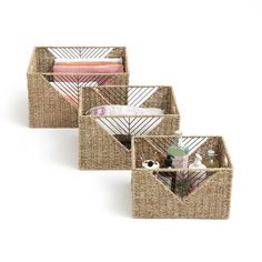 -The 3 storage baskets. Handcrafted with natural materials … - African Braids Hairstyles Storage Shelves, Storage Baskets, African Braids Hairstyles, 3 Things, Natural Materials, Decorative Boxes, Weaving, Gift Wrapping, Home Decor