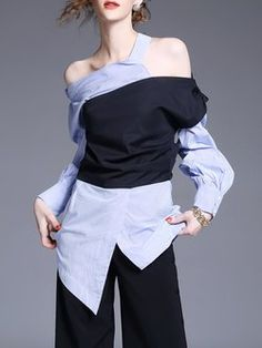 Black-blue Long Sleeve Asymmetrical Color-block Blouse