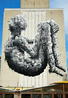 Daily news on all things Graffiti & Street Art related Artwork by the very best graffiti artists & street artists around the world. Graffiti Artwork, Art Mural, Wall Art, Yarn Bombing, Murals Street Art, Street Art Graffiti, Best Graffiti, Art Optical, Amazing Street Art