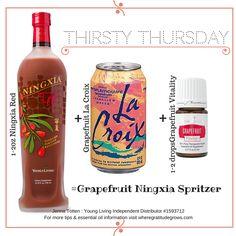 Grapefruit Ningxia Spritzer using Grapefruit Vitality essential oil, Ningxia Red & Grapefruit La Croix!