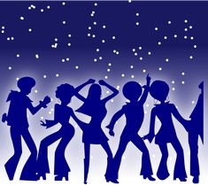 Stylized images of disco dancers are silhouetted against a starlit sky in this graphic design. Description from thefullwiki.org. I searched for this on bing.com/images
