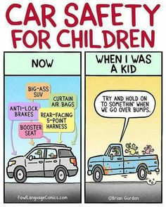 Car safety for children: Now vs. Then