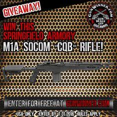 Enter to win a M1A SOCOM CQB Rifle from GunWinner.com