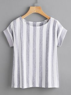 Shop Contrast Vertical Striped T-shirt online. SheIn offers Contrast Vertical Striped T-shirt & more to fit your fashionable needs. Casual Dresses, Casual Outfits, Cute Outfits, Fashion Outfits, Sewing Blouses, Boutique Tops, Work Tops, Vertical Stripes, T Shirts For Women