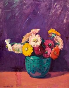 Jane Peterson Zinnias in a Teal Vase 20th century