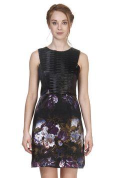Cindy + Johnny Printed Silk Charmeuse dress with leather contrast piece. #FallPrints #Fashion #PrintedDresses