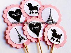 Conjunto de 12 Torre Eiffel Cupcake Toppers por JennysPartySupplies