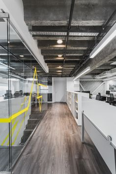 IND Architects Moscow Architecture Studio - i like the stripe of yellow along the glass