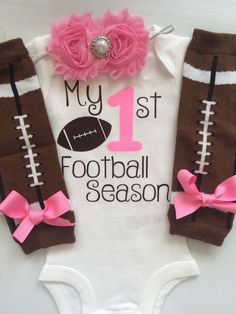Baby Girl outfit My 1st Football Season baby girl by AboutASprout Baby Outfits, Newborn Football, Football Baby, Baseball, Football Outfits, Everything Baby, Baby Time, Cute Baby Clothes, Fall Clothes