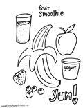 Smoothie Recipe Preschool Colouring Page