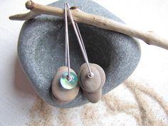 Tropical Seas Blue Dangle Earrings,  Lake Michigan Beach Stone Hoop Earrings, Fused Glass Dangle Earrings, Mismatched Earrings