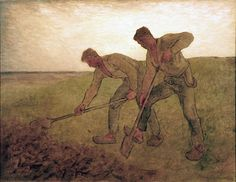 File:Jean-Francois Millet TheDiggers 1850–55.jpg. This painting is currently on view at the Tweed Museum of Art as part of the Landscapes exhibition. It's another wonderful works by Millet representing agrarian life, as he was known for his paintings of country life. He is also one of the founders of the Barbizon School in the village of Barbizon, near the forest of Fontainebleau, France.