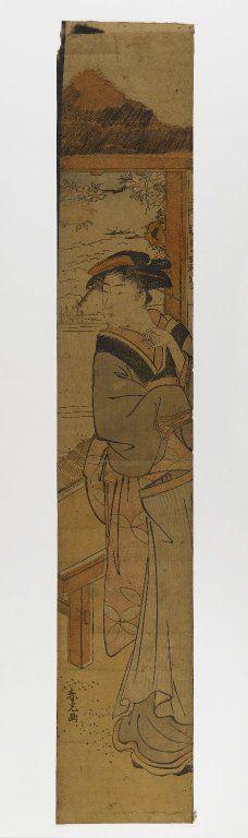 Brooklyn Museum - Woman Standing Beside a Fusuma - Artist Katsukawa Shunkō