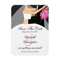 Black Polka Dot Bride & Groom Save The Date Magnet Announce your wedding day with our Stylish bride & groom save the date magnets. Our trendy, modern & fun design features a bride & groom set on a black polka dots background with pink accents. Perfect for a spring, winter winter or Fall wedding! Easy to personalize with your wedding information. Available in a large assortment of backgrounds in our shop at www.celebrateitweddings.com.