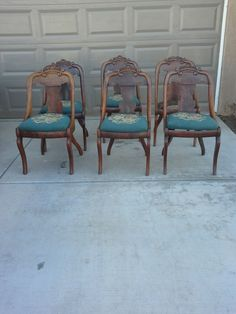 Antique Empire Gondola Chairs 6 Each Original Needlepoint Seats Furniture