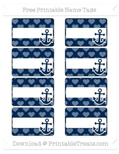 Free Navy Blue Heart Pattern  Nautical Name Tags