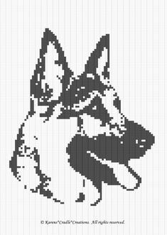 Crochet Patterns - German Shepherd Graph Pattern C Crochet Cat Pattern, Dog Pattern, Crochet Chart, Crochet Patterns, Cross Stitch Charts, Cross Stitch Patterns, Cross Stitching, Cross Stitch Embroidery, Tunisian Crochet Stitches