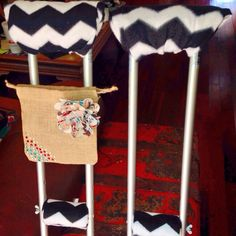 Decorated crutches with a bag to carry phone and money in.