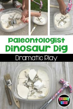 Paleontologist Dinosaur Dig Dramatic Play Roar into learning about the dinosaurs with these preschool dinosaur activities that incorporate essential math, literacy, and science skills. Dinosaur Classroom, Dinosaur Theme Preschool, Dinosaur Play, Preschool Learning Activities, Preschool Science, Toddler Activities, Dinosaur Meme, Dinosaur Crafts Kids, Dinosaur Sketch
