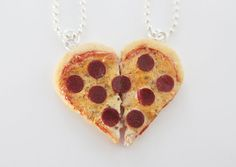 Best Friends Pizza Necklace - Food Jewelry - Heart Pizza - BFF on Etsy, $32.83 AUD