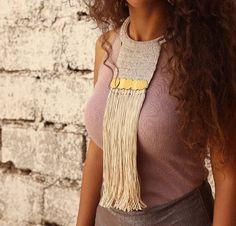Handira Fringe Crochet Neckpeice, Statement Crochet Bib Necklace, Boho Necklace
