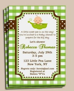 Peas in a Pod Baby Shower Invitation. Read more: http://whatwomenloves.blogspot.com/2014/05/5-classic-baby-shower-themes.html