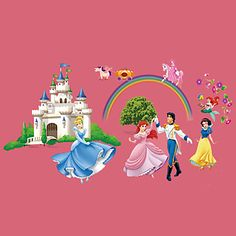 Fairy+Tale+World+Snow+White+Prince+Castle+Wall+Stickers+DIY+Children's+Bedroom+Wall+Decals+–+AUD+$+10.21
