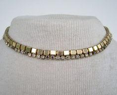 Vintage 50s Mid Century Hollywood Regency Signed Amerique Goldtone Rhinestone Choker Necklace by ThePaisleyUnicorn, $3.00