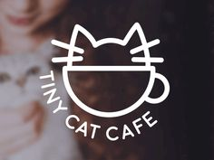 Tiny Cat Cafe Motion Logo designed by Emi Bee. Logo Café, Cafe Logo, Typo Logo Design, Graphic Design, Grumpy Cat Book, Logo Motion, Simple Cat Drawing, Cat Fountain, Cat Anatomy