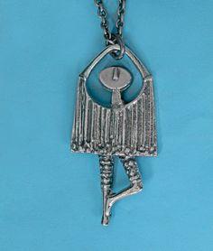 "Jorma Laine for Turun Hopea (FI), ""Dancer"" vintage modernist sterling silver necklace, 1970s. #finland | finlandjewelry.com"