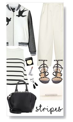 """stripes and bomber"" by chintyar ❤ liked on Polyvore featuring TIBI, Cardigan, Valentino, Alexander Wang, Bobbi Brown Cosmetics, La Prairie, Eyeko, Salvatore Ferragamo, white and black"