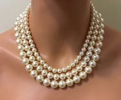Classic Pearl Necklace 3 mutli strand Swarovski Pearls in Cream Ivory or choice of color Statement vintage style Mother of the Bride wedding