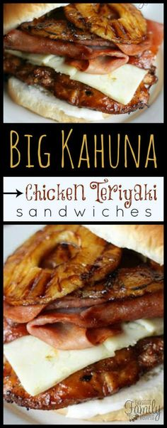 These Big Kahuna Chicken Teriyaki Sandwiches are better than most because they a. - These Big Kahuna Chicken Teriyaki Sandwiches are better than most because they are loaded with slic - Teriyaki Chicken, Teriyaki Sauce, Soup And Sandwich, Sandwich Bar, Sandwich Spread, Chicken Sandwich Recipes, Chicken Sandwhich, Wrap Sandwiches, Finger Sandwiches