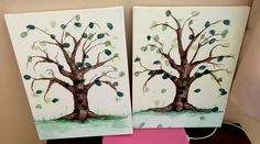 Acrylic painted thumbprint tree, with the thumbprints of three year olds, great teacher gift!