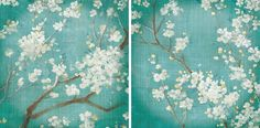 Cherry Blossoms by Danhui Nai 2 Piece Painting Print on Wrapped Canvas Set