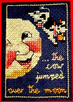 Cross Stitched ATC (artist trading card)- Nursery Rhyme theme