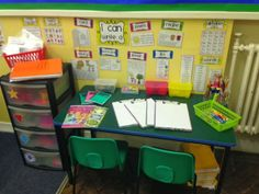 Miss Lynch's Class Writing Area with Writing Table Writing Corner, Writing Area, Writing Station, Writing Table, Literacy Working Wall, Writing Center Kindergarten, Kindergarten Writing, Year 1 Classroom Layout, Ks1 Classroom