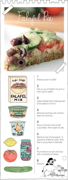 Vegan Falafel Pie recipe- I'd probably make it non vegan and replace the hummus with feta