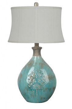 Blue Glass Lamp - Foter
